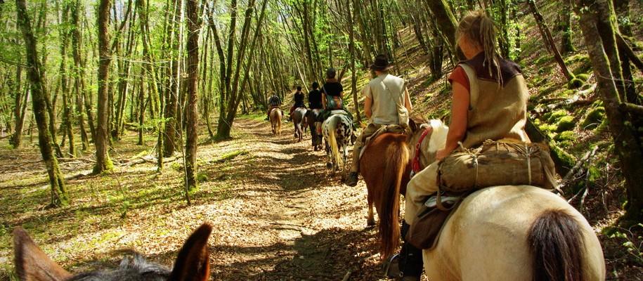 horse trip in the vézère valley, dordogne